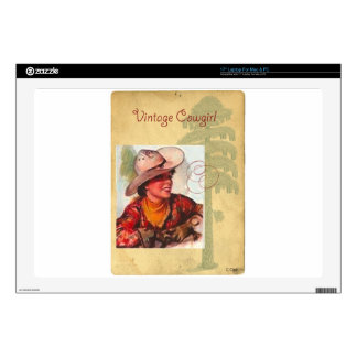 """Vintage Cowgirl Western Antique Hat Decals For 17"""" Laptops"""