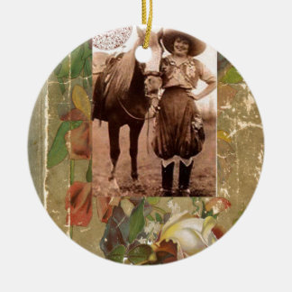 Vintage Cowgirl Western Antique Rose Book Ceramic Ornament