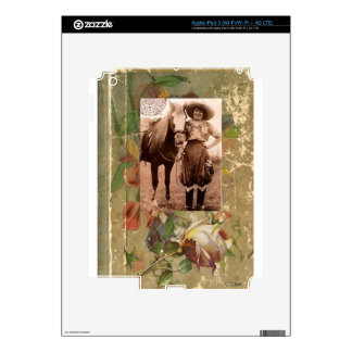 Vintage Cowgirl Western Antique Rose Book iPad 3 Decals