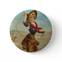 Vintage Cowgirl Western Cowboy Illustration Art Pinback Button
