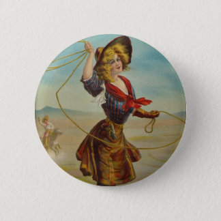 Vintage Cowgirl Western Cowboy Illustration Art Pinback Button