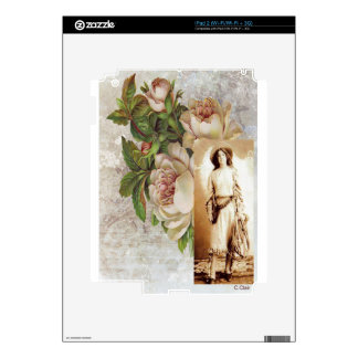 Vintage Cowgirl White Rose Floral Photograph Decals For iPad 2