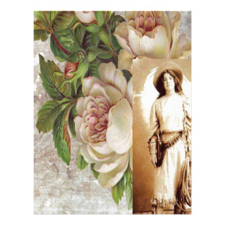 Vintage Cowgirl White Rose Floral Photograph Letterhead