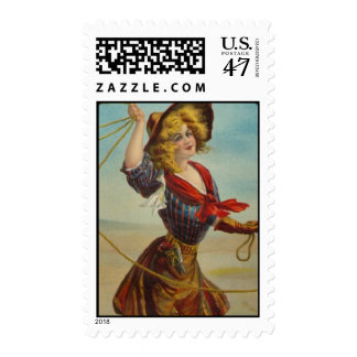 Vintage Cowgirl Wild West Western Cowboy Girl Art Stamp