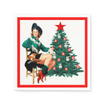 Vintage Cowgirl With Christmas Tree On White Napkin