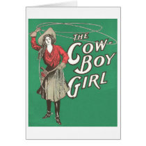 Vintage Cowgirl with Lasso, Card