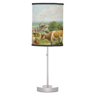 Vintage Cows In A Field Postcard Table Lamp