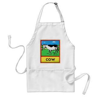 Vintage Cows Kids Spelling Alphabet C is for Cow Adult Apron