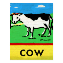 Vintage Cows Kids Spelling Alphabet C is for Cow Postcard