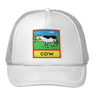Vintage Cows Kids Spelling Alphabet C is for Cow Trucker Hat