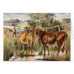 Vintage Cows/Pasture Greeting Card
