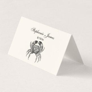 Vintage Crab #1 Place Card Escort Card Ivory