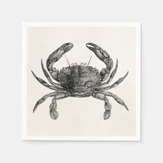 Vintage Crab Antique Crabs Personalized Template Paper Napkin