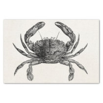 Vintage Crab Antique Crabs Personalized Template Tissue Paper