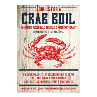 Vintage Crab Boil Party Invitations