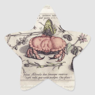 Vintage Crab, Botanicals, Insects, and Flowers Star Sticker