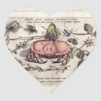 Vintage Crab, Botanicals, Insects, and Flowers Heart Stickers