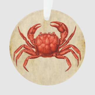 Vintage Crab Design Coral Orange Ornament