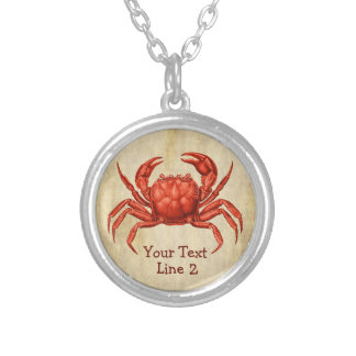 Vintage Crab Design Personalized Silver Plated Necklace