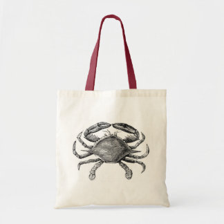 Vintage Crab Drawing Canvas Bags