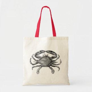 Vintage Crab Drawing Canvas Bags