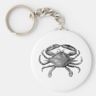 Vintage Crab Drawing Basic Round Button Keychain