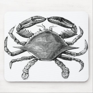 Vintage Crab Drawing Mouse Pad