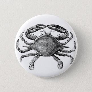 Vintage Crab Drawing Pinback Button