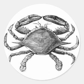 Vintage Crab Drawing Round Sticker