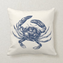 Vintage Crab Illustration Navy Blue on Cream Throw Pillow