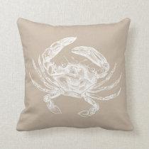 Vintage Crab Illustration White on Sand Throw Pillow