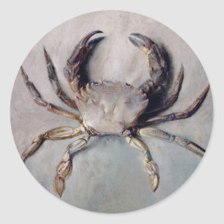 Vintage Crab Painting Classic Round Sticker