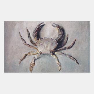 Vintage Crab Painting Rectangular Sticker