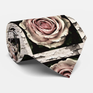 vintage cracked roses neck tie