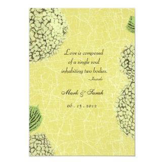 "Vintage Crackle Hydrangea Wedding Invitation 5"" X 7"" Invitation Card"