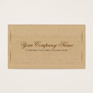 Vintage Craft Paper With Gold Border Business Card