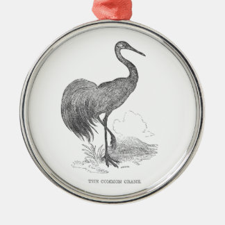 Vintage Crane Bird Pen and Ink Drawing Metal Ornament