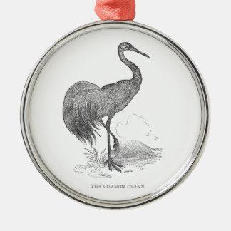 Vintage Crane Bird Pen and Ink Drawing Metal Ornament