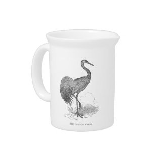 Vintage Crane Bird Pen and Ink Drawing Pitcher