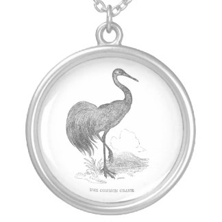 Vintage Crane Bird Pen and Ink Drawing Round Pendant Necklace