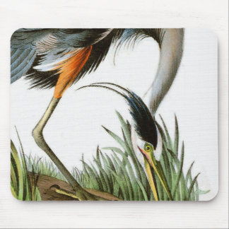 Vintage Crane Illustration Mouse Pad
