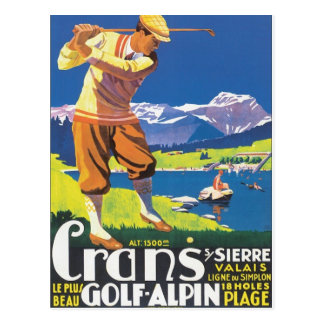 Vintage Crans Golf Alpin Postcard