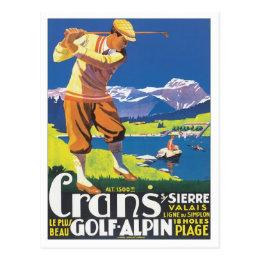 Vintage Crans Golf Alpin Postcard