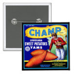 Vintage Crate Label - Champ Sweet Potatoes 2 Inch Square Button