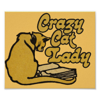 Vintage Crazy Cat Lady Poster