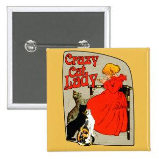 """Vintage Crazy Cat Lady """"Vintage Crazy Cat Lady"""" ca Button"""