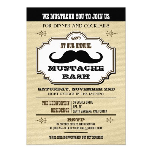 Vintage Cream and Brown Mustache Bash Personalized Invite