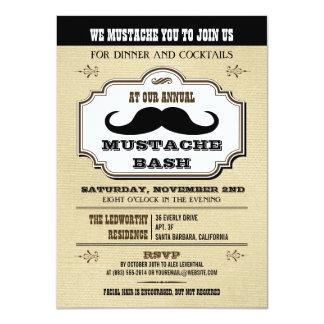 Vintage Cream and Brown Mustache Bash 4.5x6.25 Paper Invitation Card