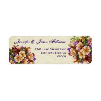 Vintage Cream and Purple Flowers Wedding Label Return Address Label