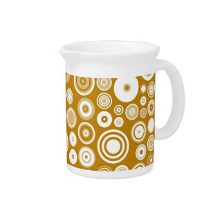 Vintage Cream and White Fifties Abstract Art Beverage Pitchers